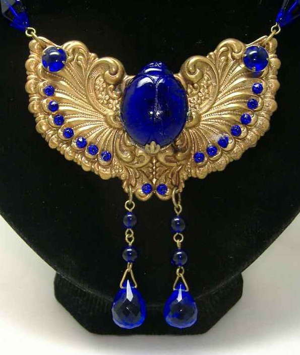 Egyptian Revival Scarab Beetle Necklace