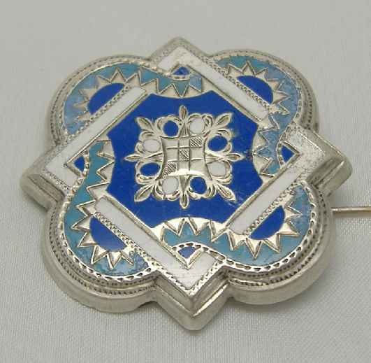 Victorian Silver Enamel Brooch